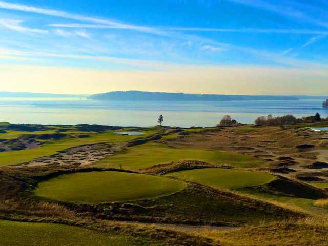 A view of a tee at Chambers Bay