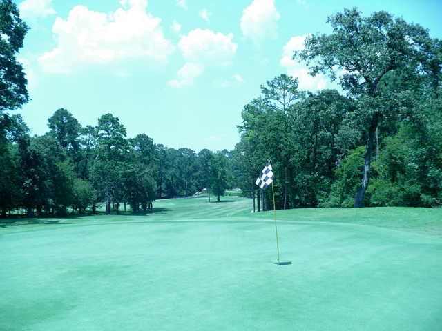 Looking back from a green at Texas National Golf Club