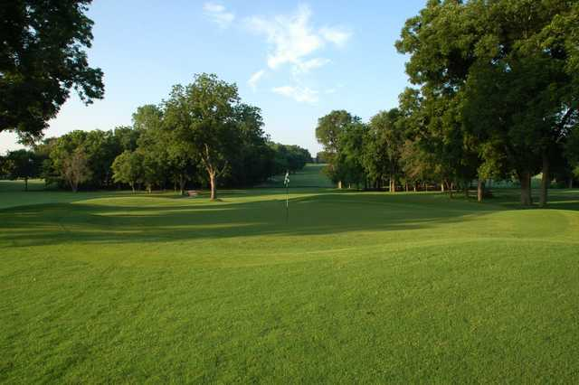 Looking back from a green at Firewheel Golf Park