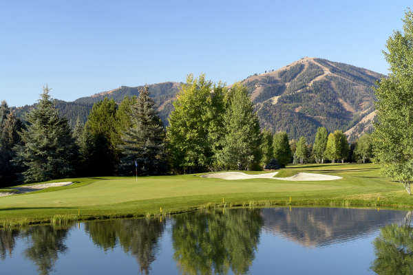 A view of the 8th green from White Clouds at Sun Valley Resort