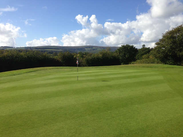 A view of the 1st green at Bovey Tracey Golf Club