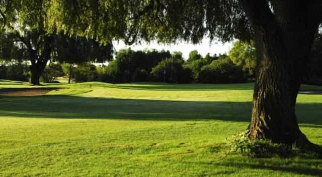 View of a green and fairway at Rolling Hills Golf Club
