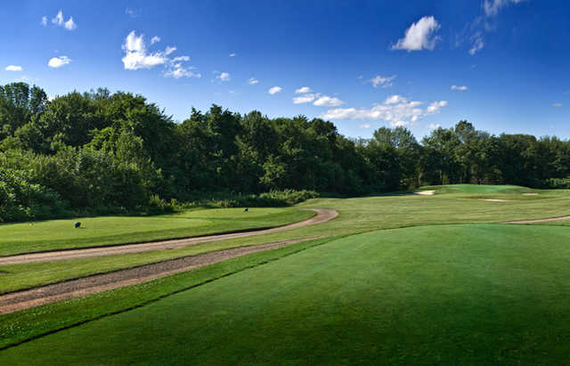 View of a fairway and green at Ledges Golf Club