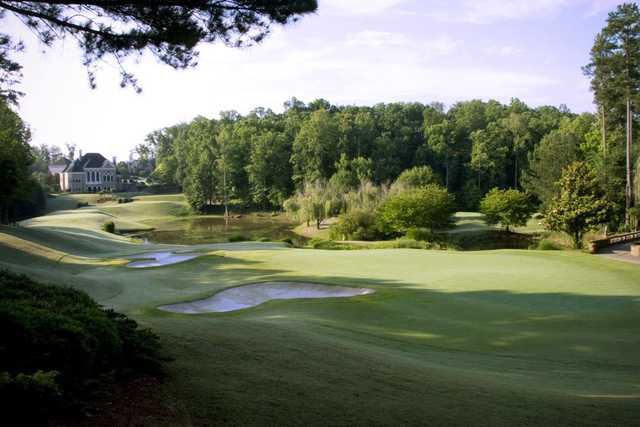 View of a bunkered green at St. Marlo Country Club