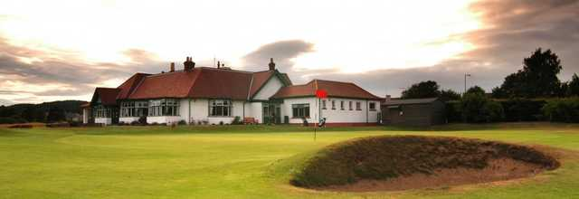 View of green #18 and the clubhouse at Scotscraig Golf Club