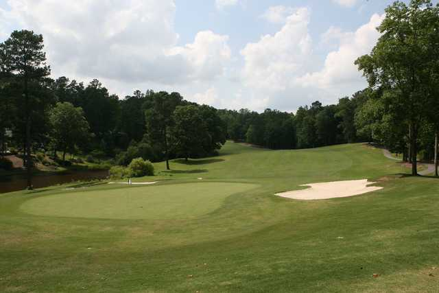 Looking back from a green at Carolina Trace Country Club