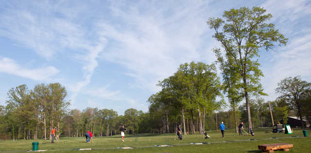A view of the driving range tees at Mill Creek Park Golf Course