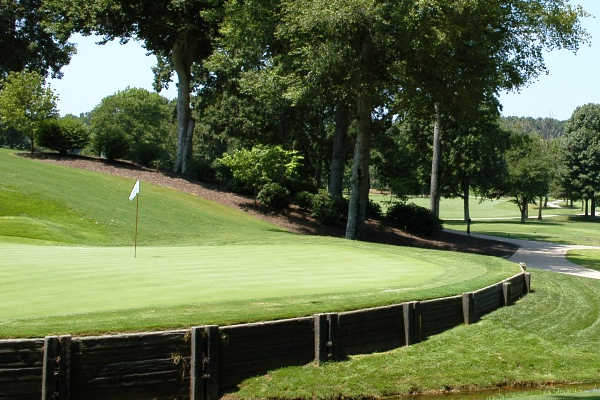 A view of a green at The Cardinal by Pete Dye