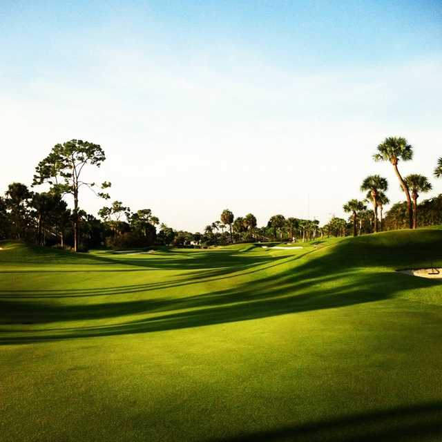 A view of fairway #5 at Dye IV from Boca West Country Club