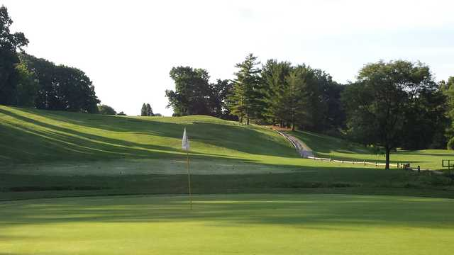 Looking back from a green at Heather Downs Country Club