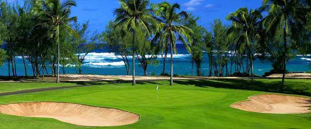 A view of a hole flanked by bunkers at George Fazio Course from Turtle Bay Resort