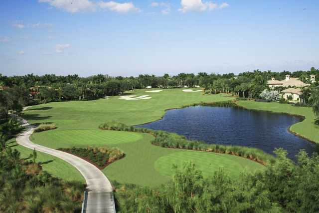 A view of tee and fairway #2 at Redemption Golf Course from Addison Reserve Country Club.