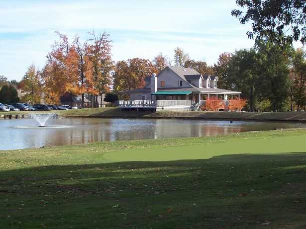 A view of the clubhouse seen from green #18 at Wedgewood Golf Course