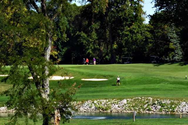 A view of a pond at Plum Brook Country Club