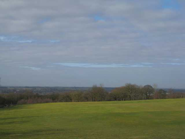 Scenic view of the 1st green looking over the neighbouring town at Beacon Park Golf Club