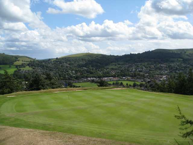 A view of the picturesque 1st green at Church Stretton Golf Club