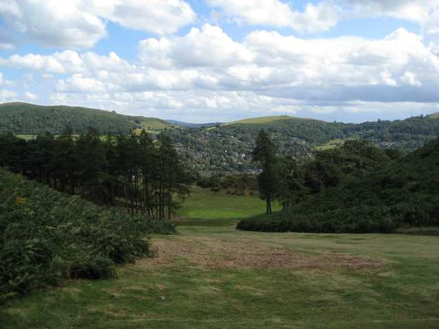 The downhill 18th approach at Church Stretton Golf Club