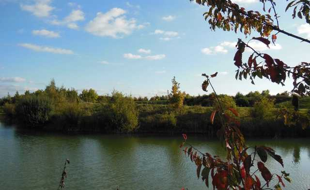 A view over the lake towards the 9th green at Colmworth and North Beds Golf Club