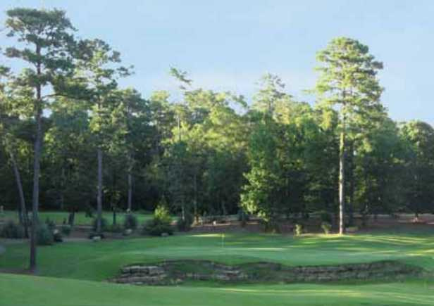 A view of a green from The Oaks at Dancing Rabbit Golf Club