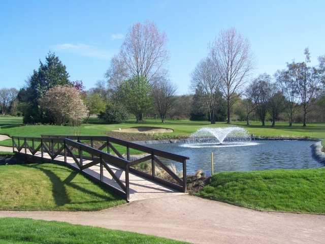 The bridge leading to the 1st tee as seen at Bishopswood Golf Club