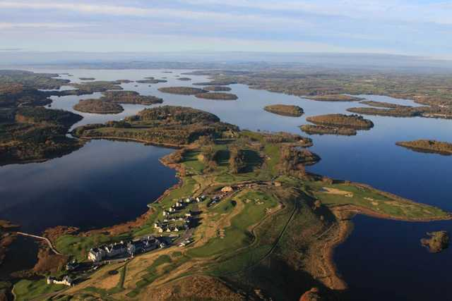 An aerial view of the Lough Erne Golf Course