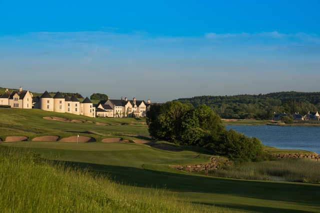 A view of the 16th green at Lough Erne