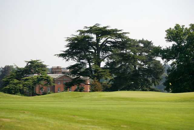Palmerston Course: 18th fairway appraoch shot with a great view of the Hall in the background at The Melbourne Golf Club at Brocket Hall