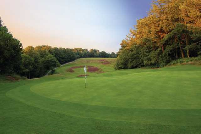 The uphill 12th green at Addington Golf Club