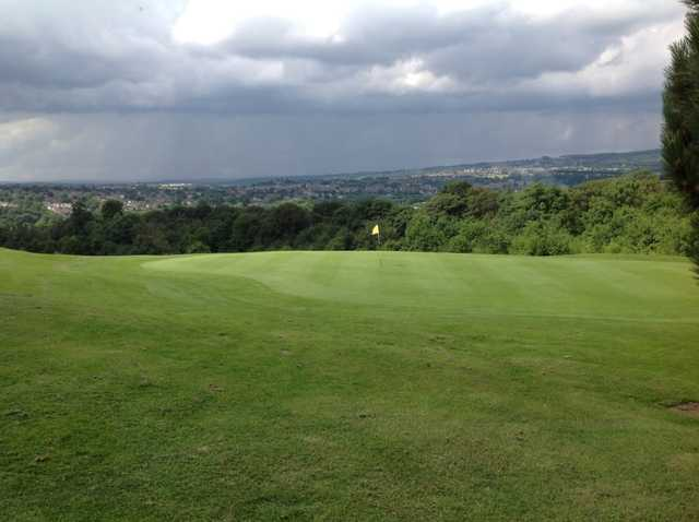 A view of the 18th green overlooking sheffield at Grange Park Golf Club