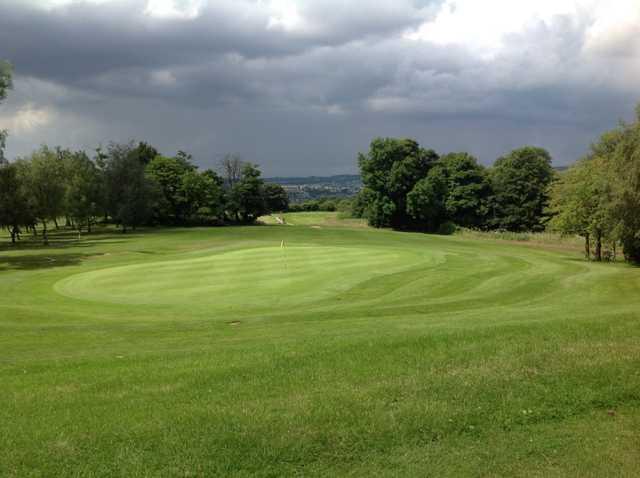 A view of the par 3 12th hole at Grange Park Golf Club