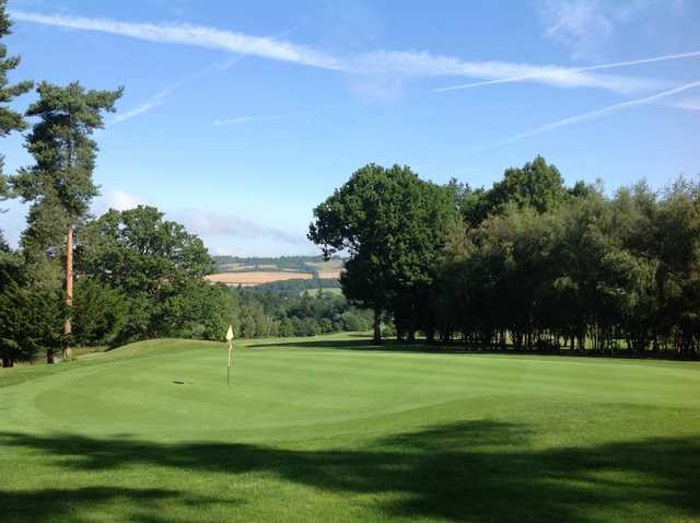 Scenic view of the 17th green overlooking the countryside at Westerham Golf Club