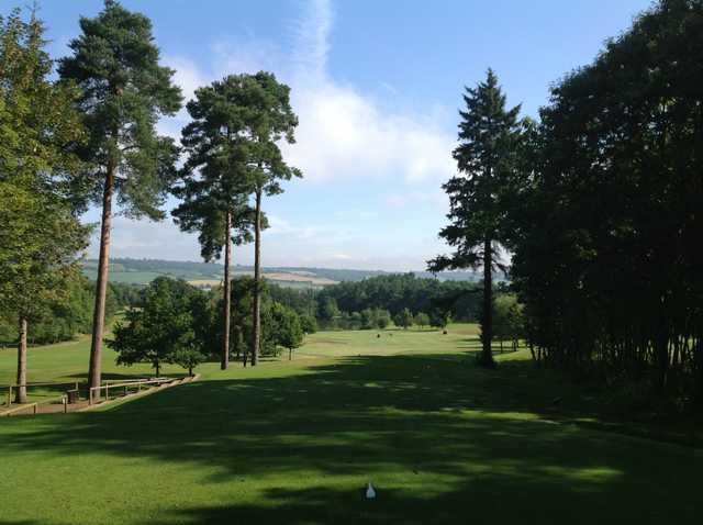 Scenic view down the fairway from the 2nd tee at Westerham Golf Club