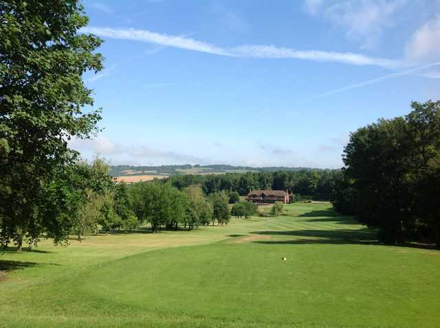 Stunnning view from the 9th tee looking down the fairway with views of the clubhouse at Westerham Golf Club
