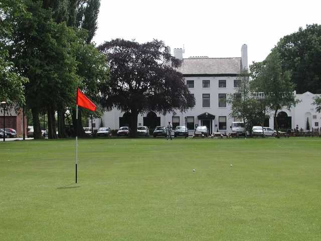 A view of Altrincham's clubhouse from the 17th green