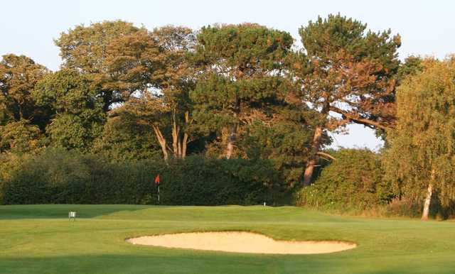 The raised 17th green at Eastham can be tricky to get onto especially with the sand trap lurking nearby