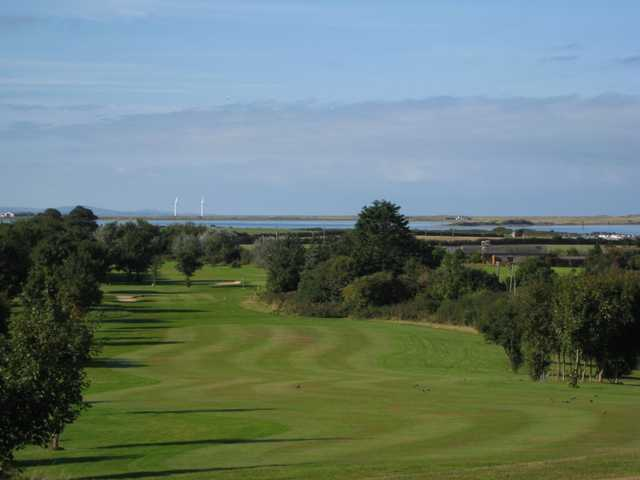A view of  the 18th fairway overlooking the sea at  Caernarfon Golf Club