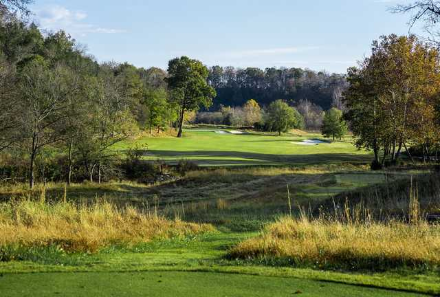 A sunny day view of fairway #2 at The Golf Club of Tennessee.