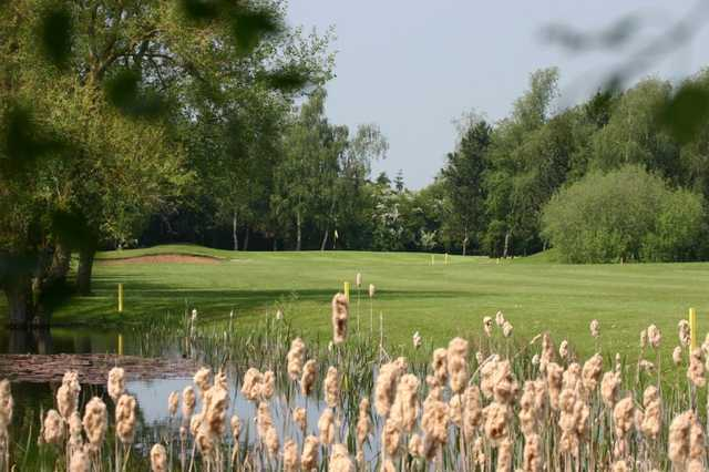 View of a green and pond at Weston Turville Golf Club