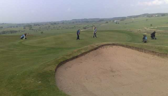 One of Baildon Golf Club's strategically placed bunkers