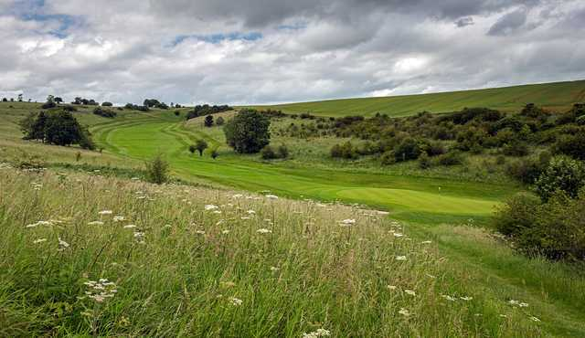 A long shot view of the 14th hole at Ogbourne Downs
