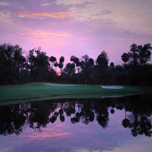 A view over the water of hole #6 from Legacy Club at Alaqua Lakes