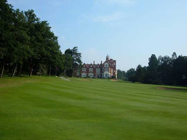 The elegant clubhouse seen from the 18th hole at Finchley