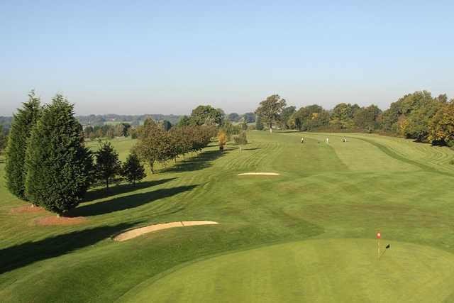 An overhead shot of the 2nd green at Chartridge Park Golf Club