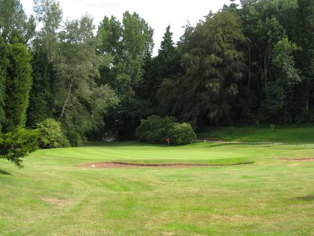 The third green and greenside bunker at Bridgnorth golf club