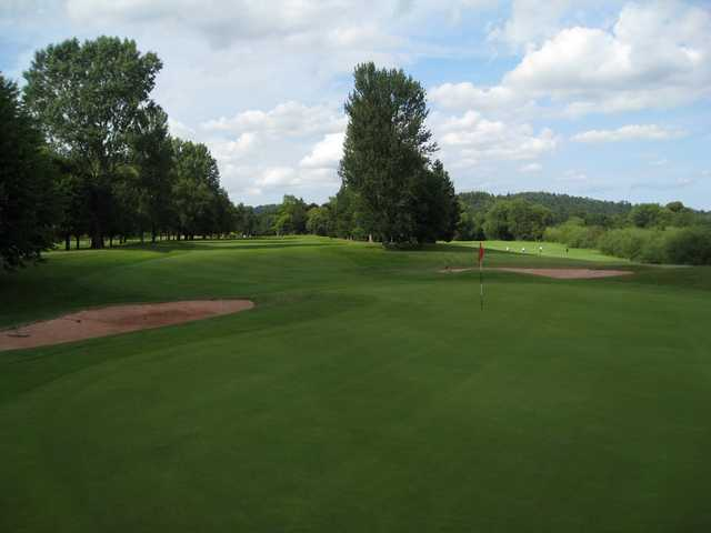 A view of the 5th green and treelined fairway at Bridgnorth Golf Club