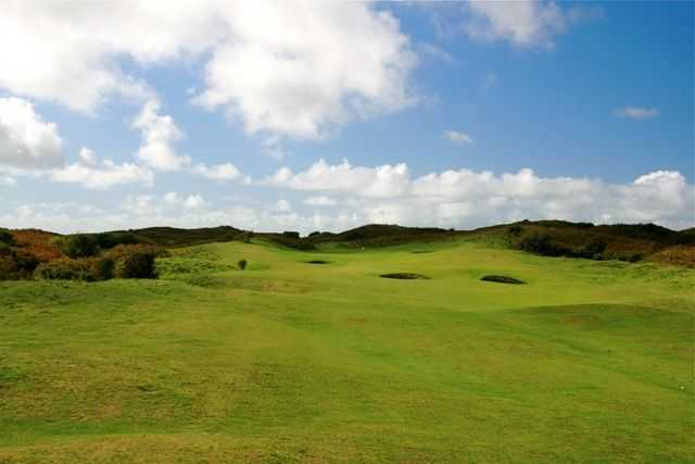 Tough shot up to the 11th green at Pyle and Kenfig Golf Club