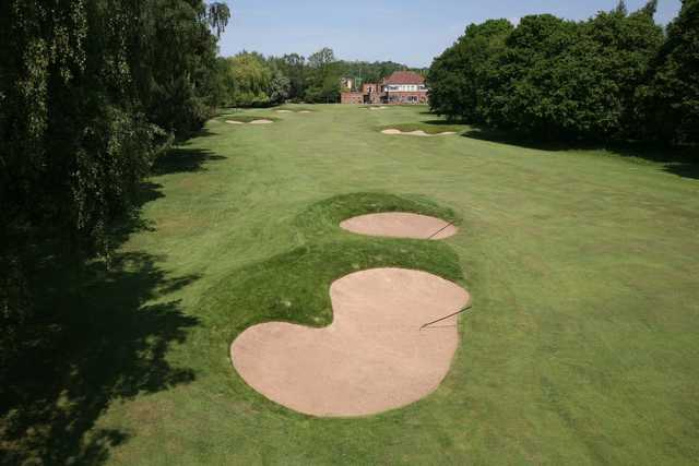 Large fairway bunkers on the 18th leading to the clubhouse