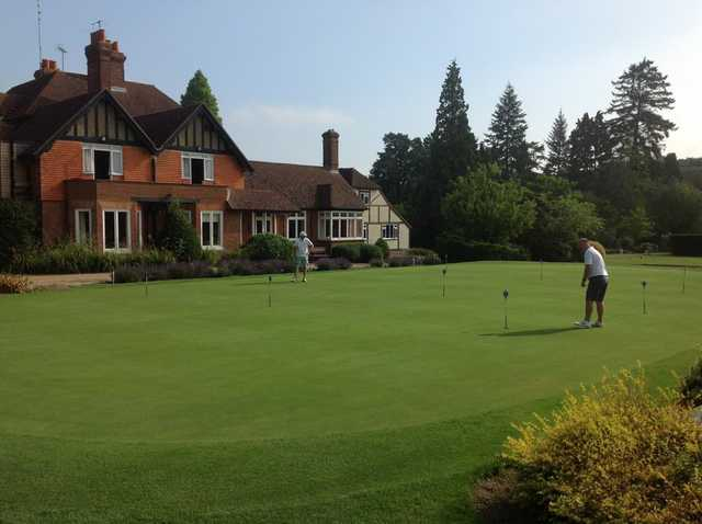 The clubhouse overlooking the putting green at Gatton Manor Golf Club