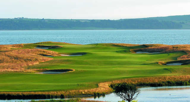 A view of hole #16 at Machynys Peninsula Golf & Country Club.