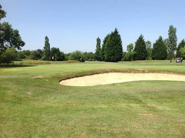 A View of the 17th green and bunker at Foxbridge Golf Club